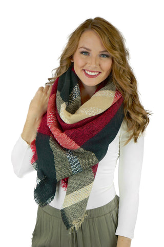 Black, Burgundy and Beige Plaid Blanket Scarf