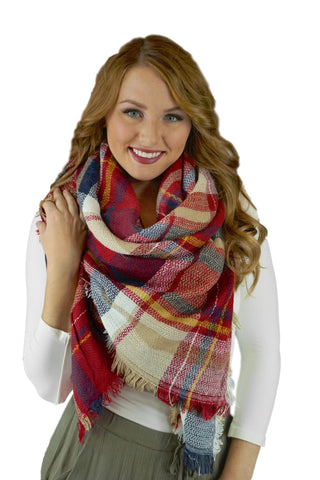 Burgundy and Navy Plaid Blanket Scarf