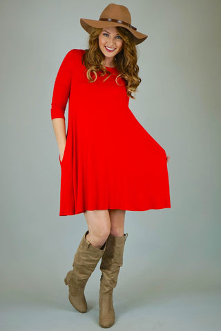Red Mittoshop 3/4 Sleeve Knit Dress With Pockets