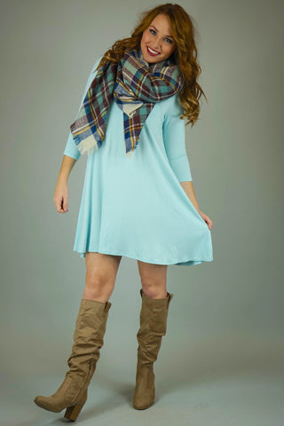 Beige, Mint and Blue Plaid Blanket Scarf