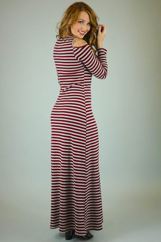 Alyssa Striped Cold Shoulder Maxi Dress with Sleeves