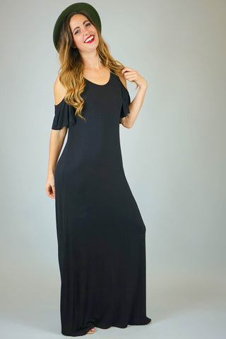 Mia Cold Shoulder Maxi with Open Back
