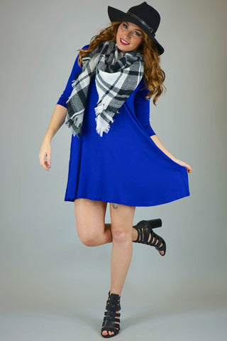 Cobalt Mittoshop 3/4 Sleeve Knit Dress With Pockets