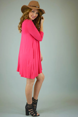 Pink Mittoshop 3/4 Sleeve Knit Dress With Pockets