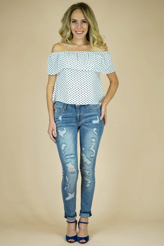 Priscilla Polka Dot Top