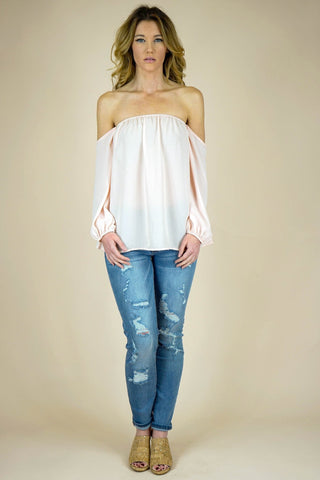 Blush Off The Shoulder Chiffon Blouse