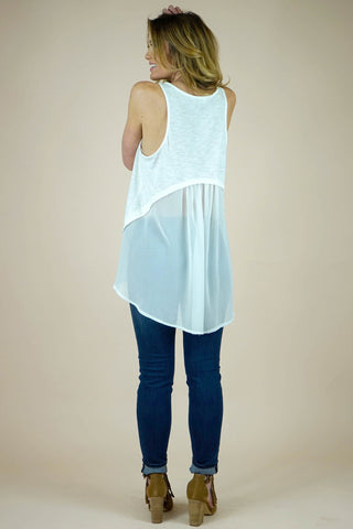 High and Low Sleeveless White Top
