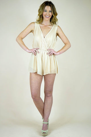 Nude Chiffon Pleated Romper