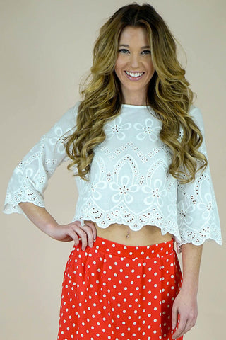 Josie White Lace Keyhole Top