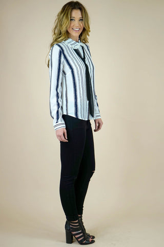 Anna Ribbon Tie Off White Striped Blouse