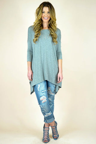 Heather Grey Bamboo Fabric Dropped Shoulder Sleeve Top