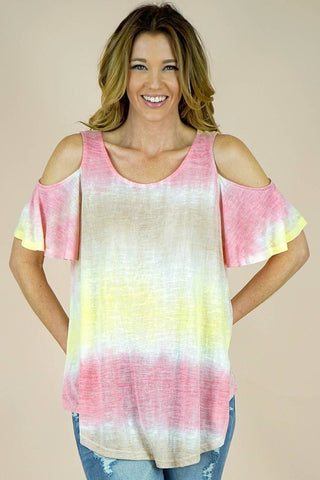 Tie Dye Print Off Shoulder Tops