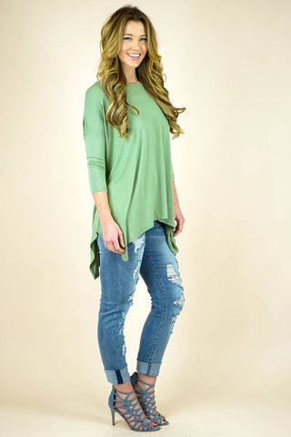 Olive Bamboo Fabric Dropped Shoulder Sleeve Top
