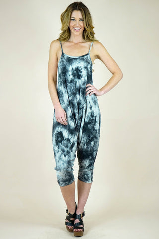 Candice Harem Tie Dye White and Black Jumpsuit