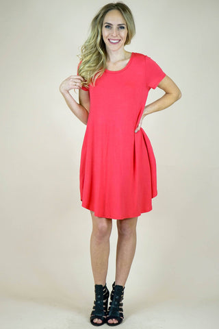 Short Sleeve A Line Dress