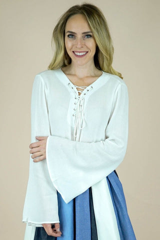 Clarissa White Lace Up Top