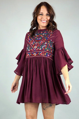 Embroidered Maroon Dress