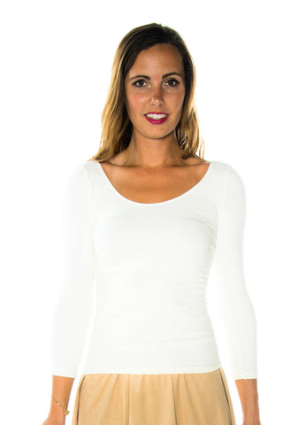 NikiBiki 3/4 Sleeve Scoop Neck Seamless Top