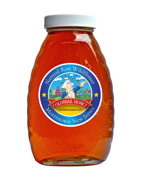 Colonial Raw Wildflower Honey - 1 lb. - Glass bottle - Honey - Eco Bee Supply