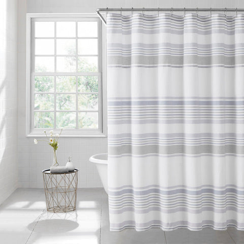 Brielle Home Lana Stripe 100% Cotton Shower Curtain