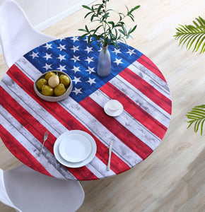 Brielle Home American Flag 100% Cotton Fabric Fitted Table Cover