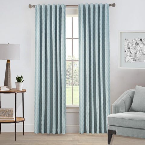 Brielle Home Oslo Jacquard Rod Pocket/Back Tab 100% Blackout Window Curtain Panel