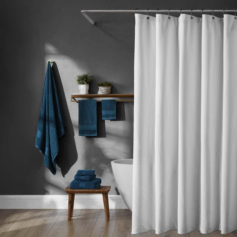 Brielle Home 100% Cotton Luxury Hotel Shower Curtain