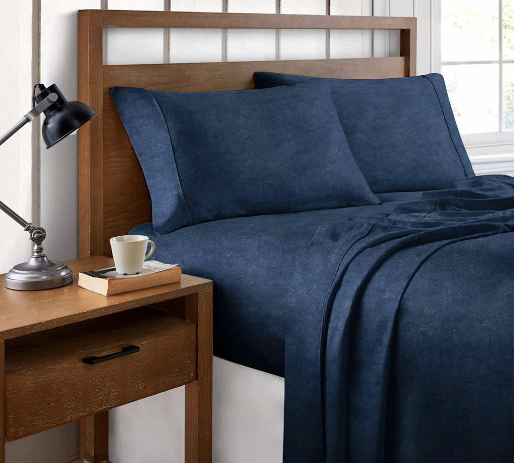 Brielle Home Organic Cotton Heather Printed Sheet Set Navy
