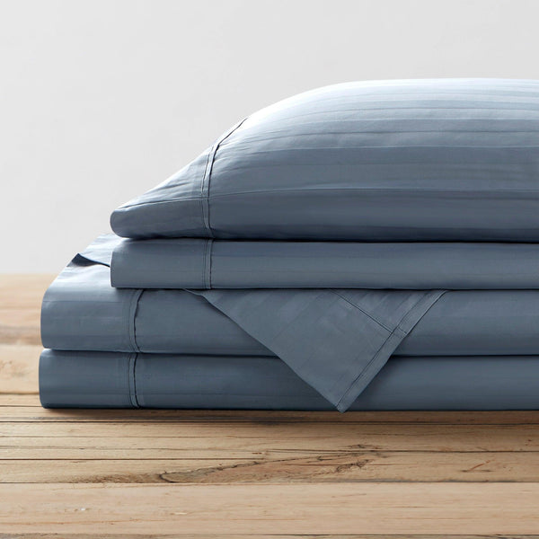 Brielle Home 100% Organic Cotton Dobby Stripe Sheet Set