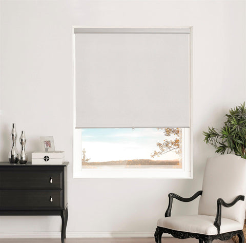 Brielle Home Silver Shimmering Blackout Cordless Roller Shade