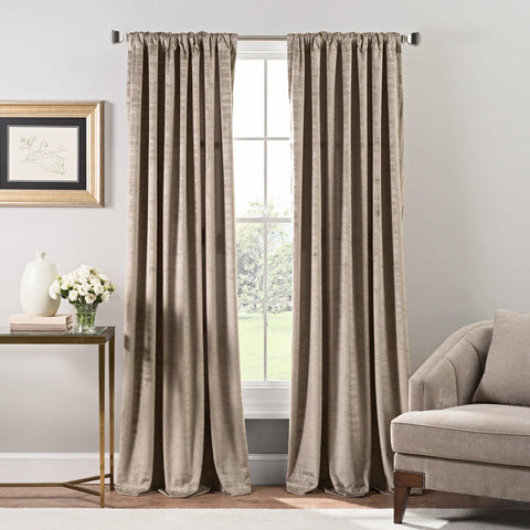 Brielle Home Stockton Velvet Rod Pocket/Back Tab Window Curtain Panel