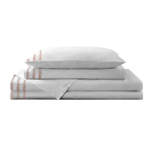 Brielle Home Vida Clipped Jacquard 180 Thread Count 100% Cotton Sheet Set & Pillowcase