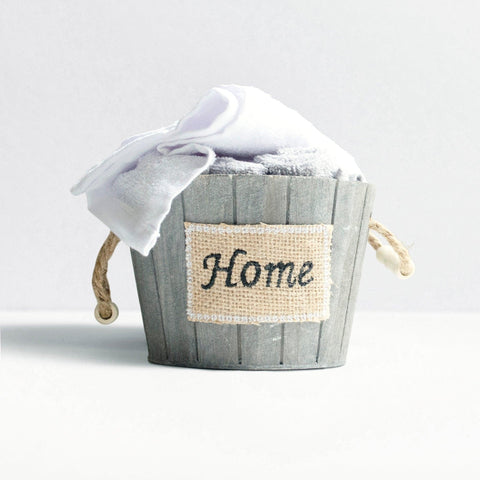 5 Piece Set of Washcloths in a Small Rustic Wooden Basket Container