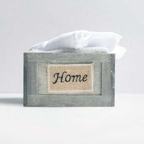 Brielle Home 6 Piece Washcloth Set with Decorative Wooden Crate