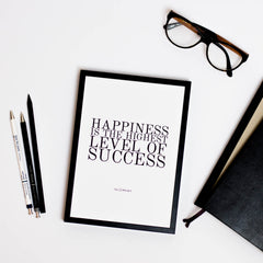 sucess quotes printed black and white glasses and moleskine