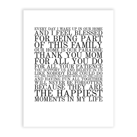 perfect gift for mum - family poster