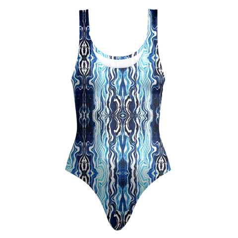 One Piece Swimsuit - Blue Ocean Pattern