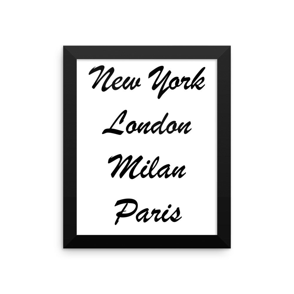 Framed poster - New York London Milan Paris