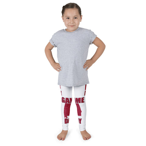Kid's Leggings - Alabama Red & White