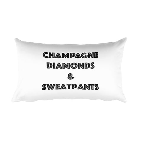 Throw Pillow - Champagne Diamonds & Sweatpants