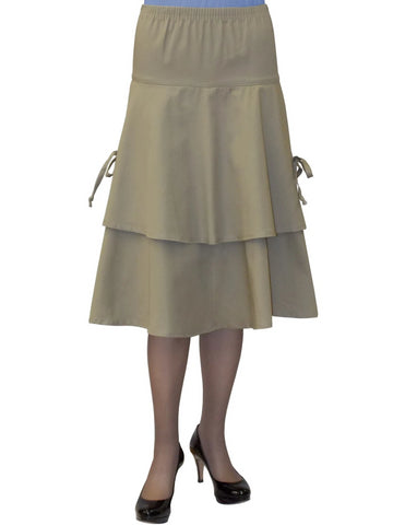 Women's Below the Knee Length Layered Tie Side Apron Skirt