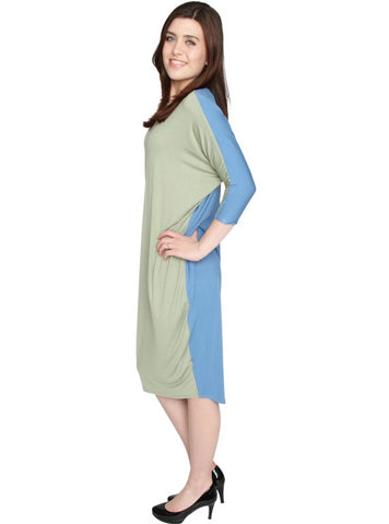 Women's 2 Tone Coming and Going Comfy Cover-Up Midi Dress
