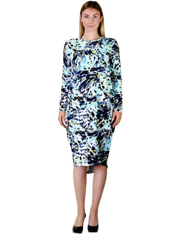 Women's Aqua Splash Water Colored Print Comfy Cover Up Midi Dress