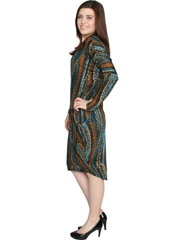 Women's Black Wave Print Comfy Cover Up Midi Dress