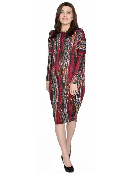 Women's Burgundy Wave Print Comfy Cover Up Midi Dress