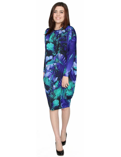 Women's Cobalt Fern Printed Comfy Cover-Up Midi Dress