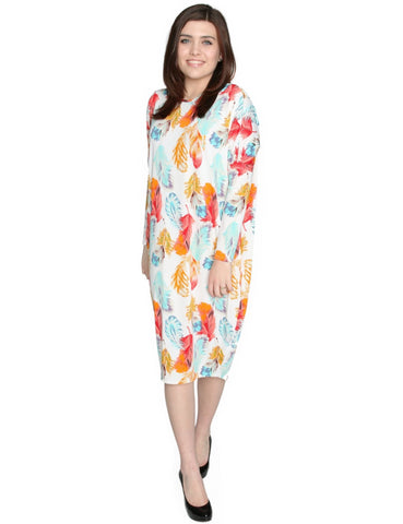 Women's Spring Time Feathers Printed Comfy Cover-Up Midi Dress