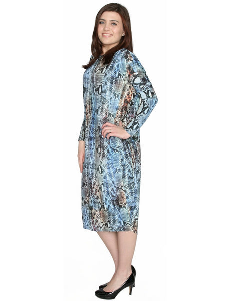 Women's Blue Snake Skin Printed Comfy Cover-Up Midi Dress