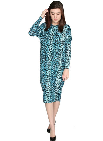 Women's Teal Bits and Pieces Print Comfy Cover Up Midi Dress