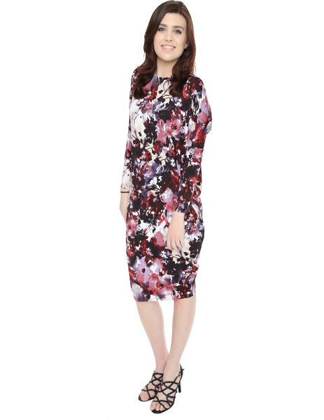 Women's Floral Print Long Sleeve Comfy Cover Up Knee Length Dress